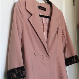 Salmon pink buttoned blazer with 3/4 lace sleeves